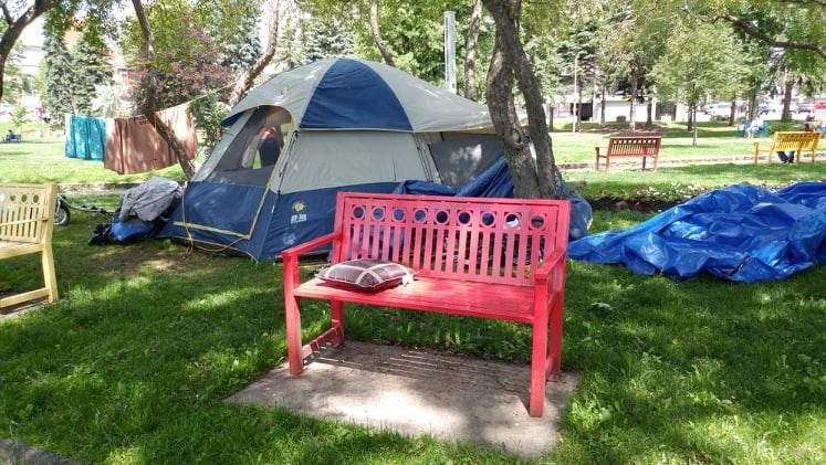 A tent in Memorial Park on June 30.