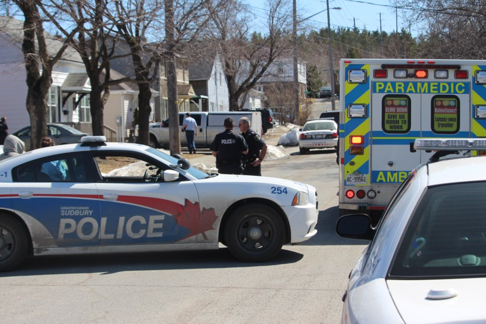 Greater Sudbury police were on scene at Gillman Street negotiating with a man earlier today. Photo: Matt Durnan