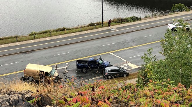 Greater Sudbury Police are responding to a multi-vehiclecollision on Paris Street midway between York Street and Ramsey Lake Road. (Heather Green-Oliver/Sudbury.com)