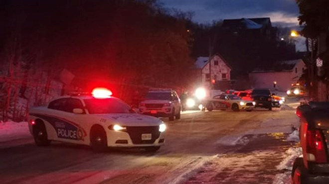 Greater Sudbury Police are responding to a disturbance on Mountain Street in the Flour Mill neighbourhood. (Photo: Shane Dudichum)