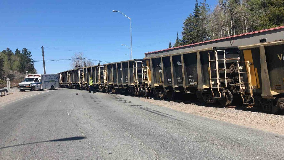A crash between a tractor-trailer and a train has closed Highway 144 near Levack. (Supplied)
