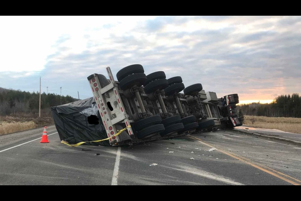 The Nipissing West OPP provided this photo of an overturned transport truck on Highway 17 in the Coniston area. (Supplied/@OPP_NER)