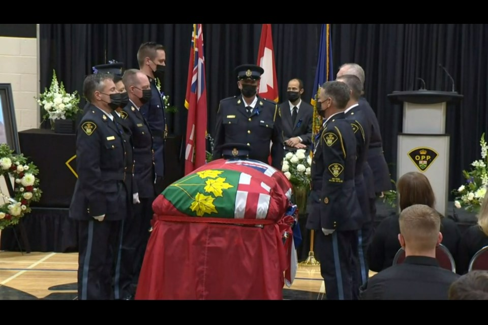 A community said goodbye to Provincial Constable Marc Hovingh on Nov. 28, sharing stories about the kind and caring man that he was.
