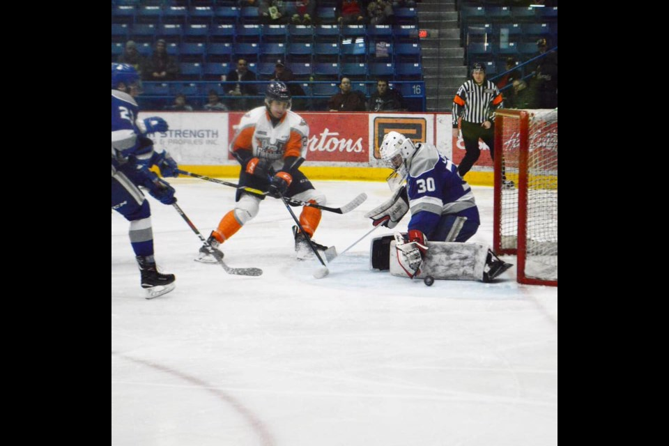 A save by Wolves' Jonathan Lemaire at the Sudbury Arena, during their 9-2 victory over the Flint Firebirds (Supplied).