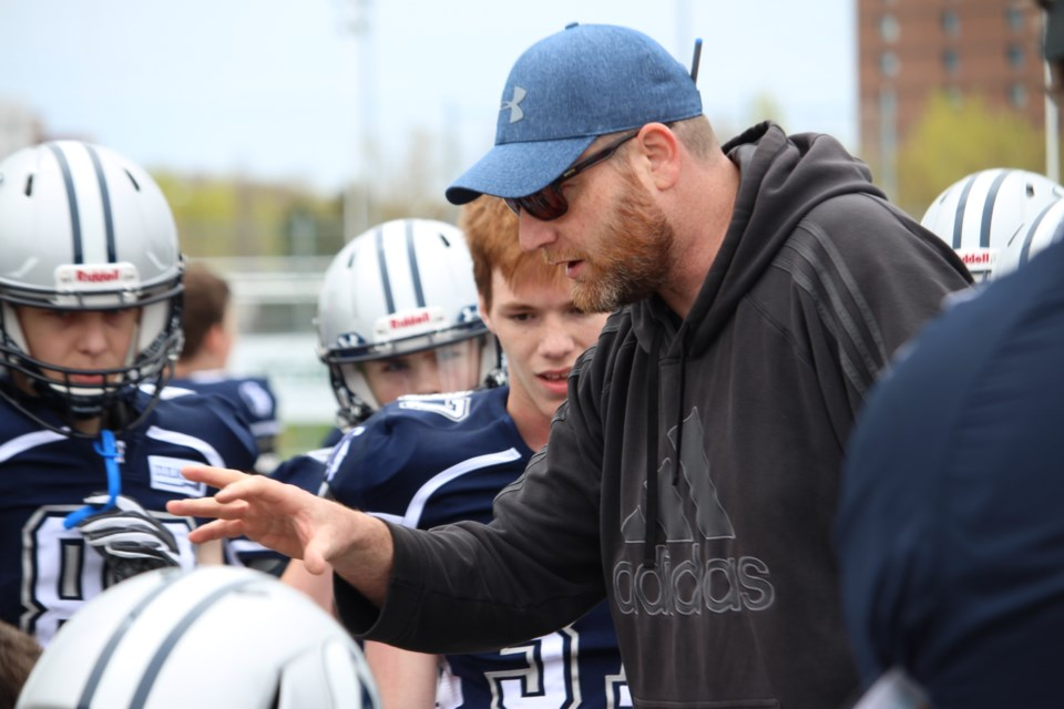 Head coach of the Sudbury Spartans Junior Varsity Team Reg Bonin, at the 2019 OPFL season opener (Keira Ferguson/ Sudbury.com)