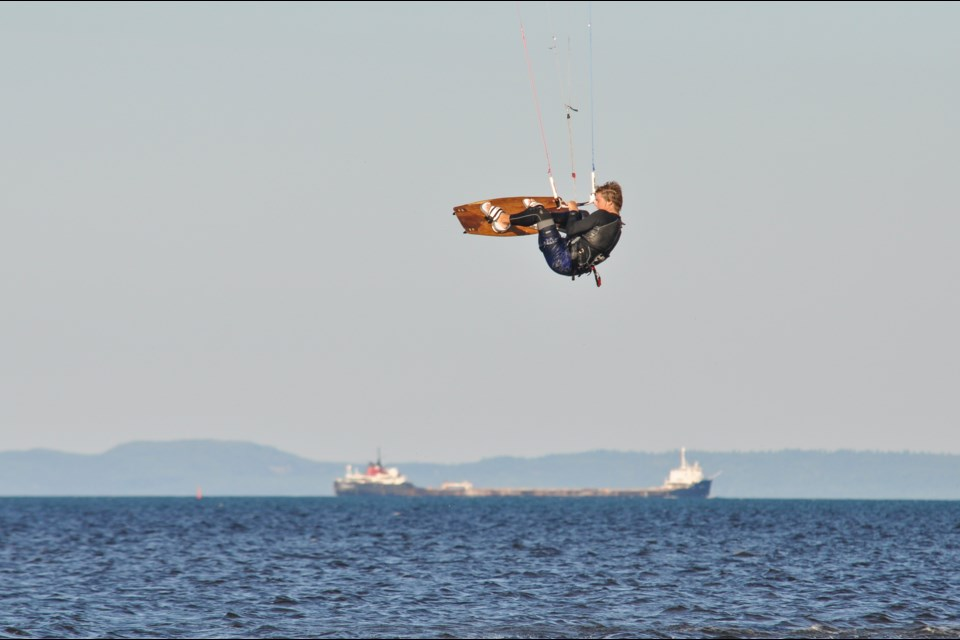 Liam Warner taking big air off the coast of Mission Island Marsh - a great place for viewing a variety of wildlife