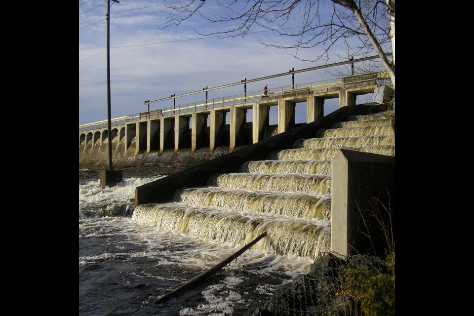 This file photo shows the Current River Dam fish ladder prior to the dam's rehabilitation project, which started last year