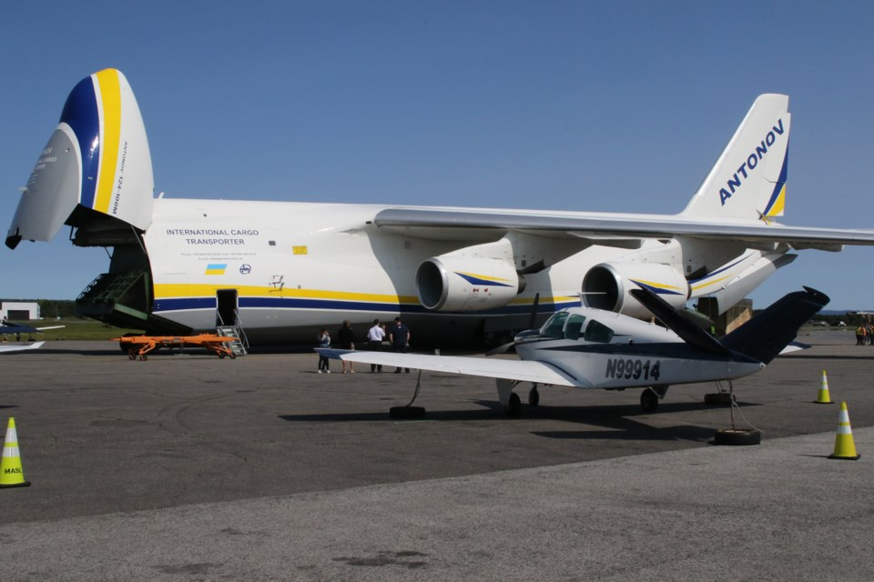 The Antonov-An 124 is the largest plane to ever touch down in Thunder Bay. (Michael Charlebois, tbnewswatch.com)