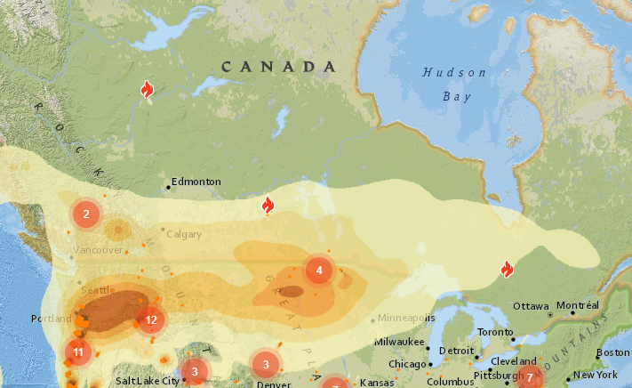 One forecast of smoke drift from the Pacific coast shows light smoke over NW Ontario expected the evening of Sept. 15, 2020 (BlueSky Canada.ca)