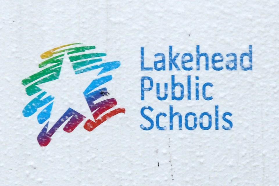 Lakehead Public School Sign Snow