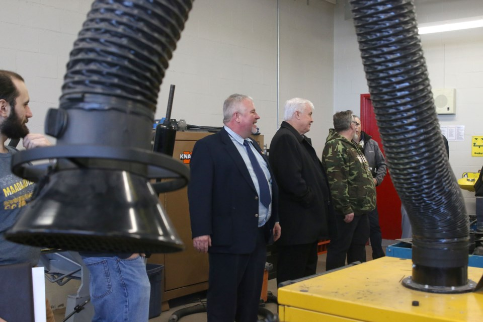 Ken Liddicoat, trade school coordinator at Dennis Franklin Cromarty High School, led a tour of the manufacturing classroom in the First Nations Trade School in Feb. 2017 (Tbnewswatch file)