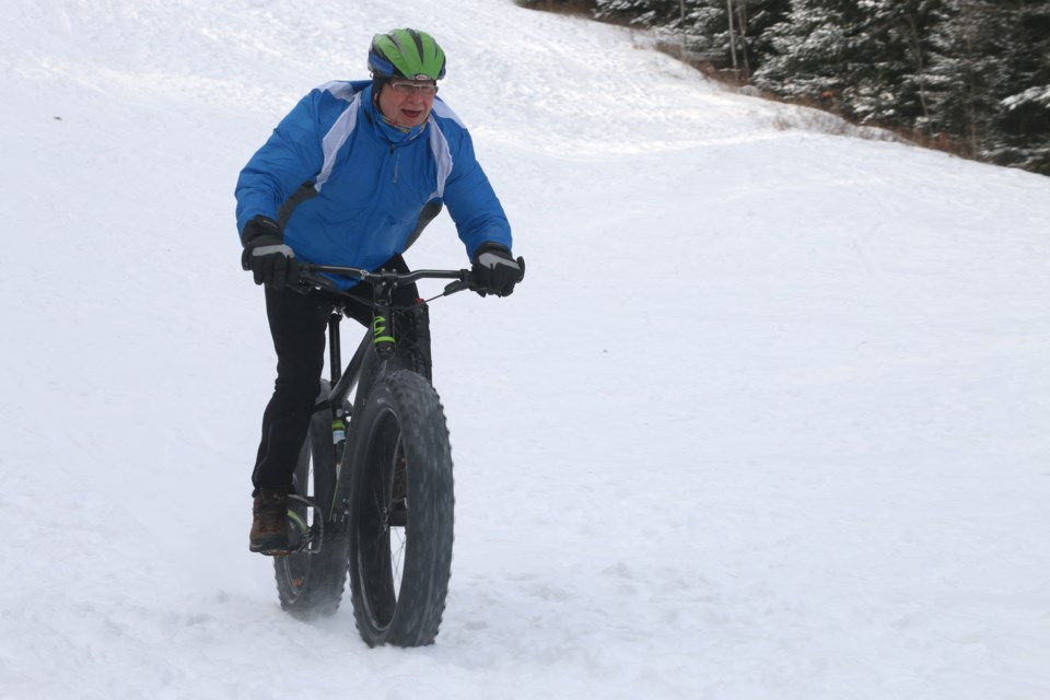 Fred Bauer, director with the Thunder Bay Cycling Club, rides the hills at Centennial Park in preparation for the Norpine Fat Bike Classic in Lutsen, Minn,. Saturday, Jan. 7. (Photos by Doug Diaczuk - tbnewswatch.com).