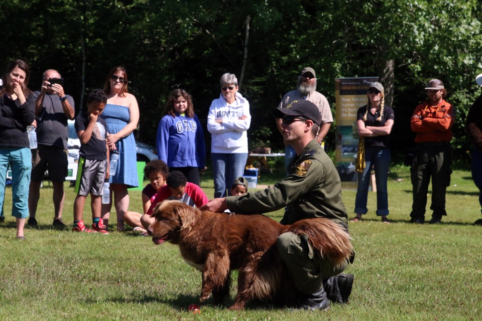 Andy Heerschap, a conservation officer K9 handler with the Ministry of Natural Resources and Forestry and search dog, Bear, gave a demonstration on how dogs are used by the MNRF.