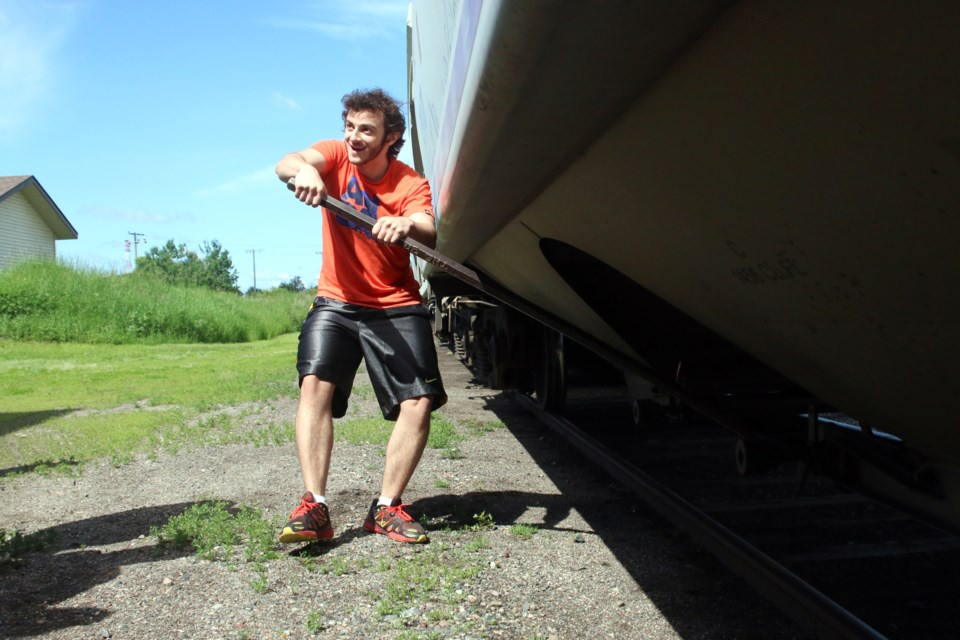 Gil Ishaky, a grade 12 student at Blyth Academy in Toronto, discovers working at a grain elevator is a lot harder than it looks.