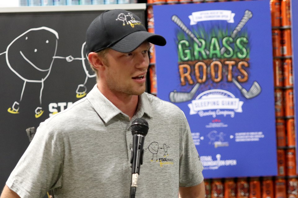 Minnesota Wild forward Eric Staal helps launch Grass Roots, a pre-prohibition lager designed by Sleeping Giant Brewery and inspired by the hockey-playing, sod-farming Thunder Bay Family. The beer, the official brew of the Staal Foundation Open, will see $1 from each can sold donated to the Staal Family Foundation (Leith Dunick, tbnewswatch.com).