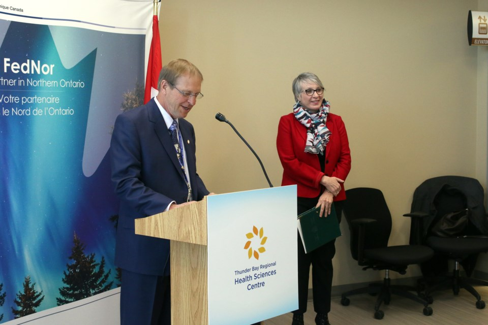 Jean Bartkowiak, president and CEO of the Thunder Bay Regional Health Sciences Centre and Minister of employment, workforce development, and labour, Patty Hajdu, announce $1.85 million FedNor investment for medical research in Northern Ontario.