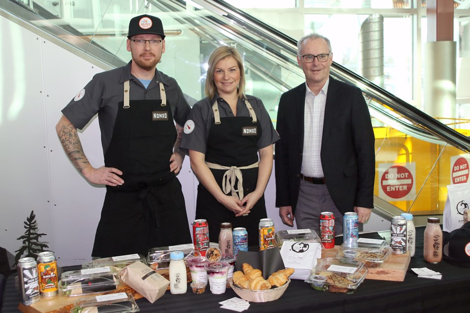 Pine Tree Catering's Nikos Mantis, Shawna Deagle and Airport CEO Ed Schmidtke. (Leith Dunick, tbnewswatch.com)