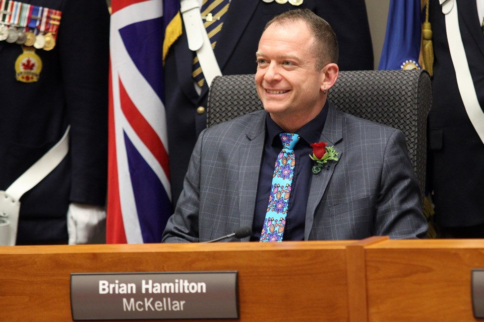 Coun. Brian Hamilton was sworn in as the McKellar ward representative on Monday, December 3, 2018. (Matt Vis, tbnewswatch.com)