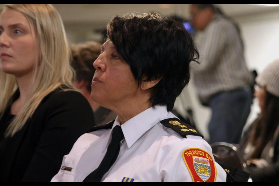 Thunder Bay Police Service chief, Sylvie Hauth. (Photo by Doug Diaczuk - Tbnewswatch.com).
