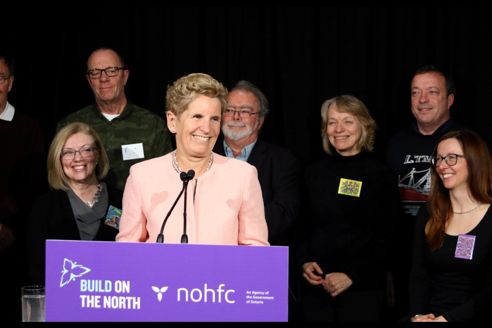 Ontario Premier Kathleen Wynne announced more than $6 million in NOHFC funding for three projects on Thunder Bay's waterfront. (Photos by Doug Diaczuk - Tbnewswatch.com).