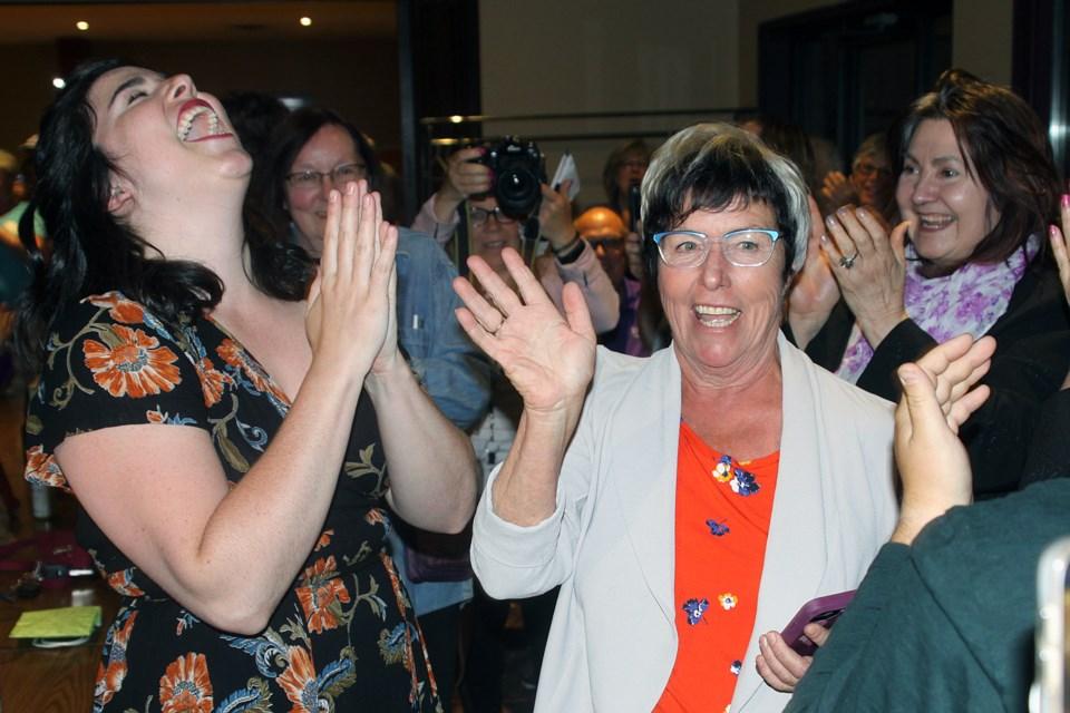 New Democrat Judith Monteith-Farrell celebrates with supporters after winning the Thunder Bay-Atikokan riding on Thursday, June 7, 2018. (Matt Vis, tbnewswatch.com)
