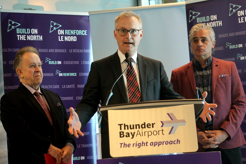 Thunder Bay International Airport president and chief executive officer Ed Schmidtke speaks at a news conference announcing $5 million in Northern Ontario Heritage Fund Corporation for the airport's terminal upgrades on Friday, March 2, 2018. (Matt Vis, tbnewswatch.com)