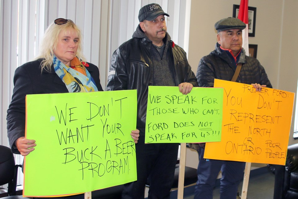 Basic income pilot project advocates Tracey MacKinnon (left) and Trevor Anderson (centre) were among those who met with MPP Patty Hajdu at her constituency office on Friday, Nov. 2, 2018. (Leith Dunick, tbnewswatch.com/FILE)