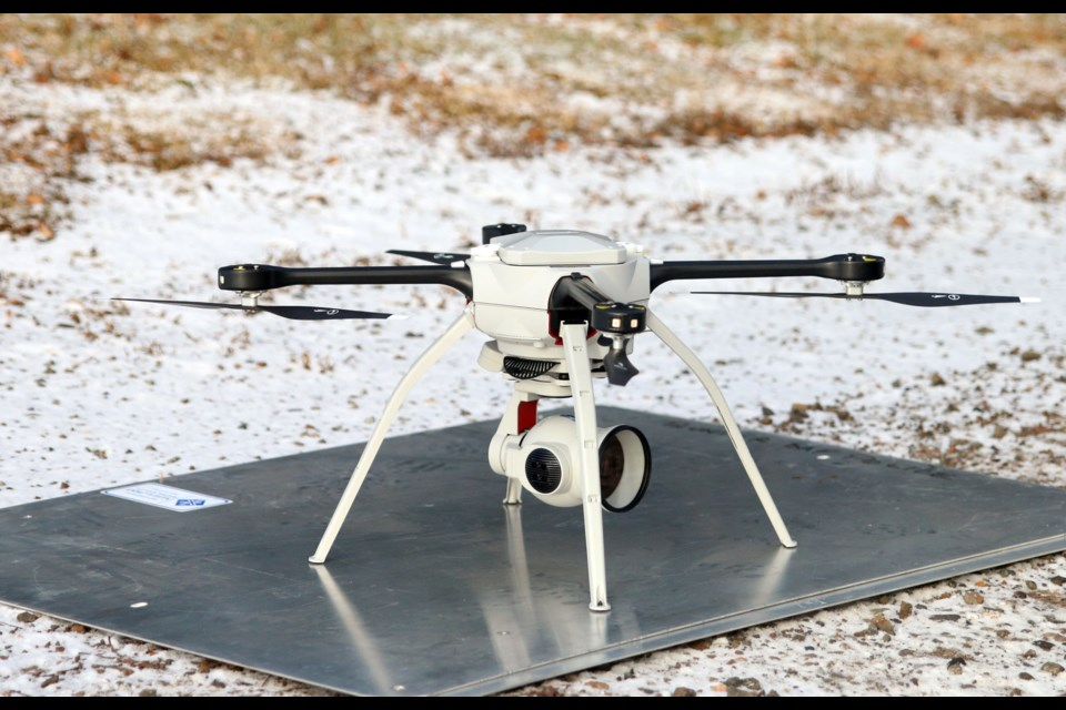 Thunder Bay Police have launched an unmanned arieal drone, which will assist officers with investigations and searching for missing persons. (Photos by Doug Diaczuk - Tbnewswatch.com).