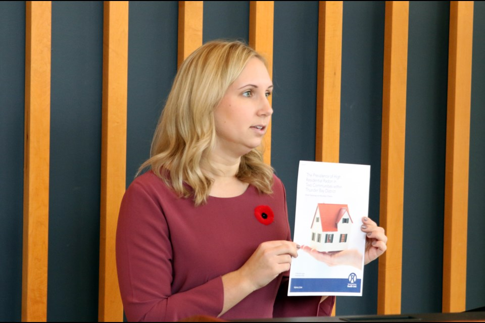 Erica Sawula, an epidemiologist at the Thunder Bay District Health Unit, said a new study showed 65 per cent of homes in Oliver Paipoonge tested for high levels of Radon. (Photos by Doug Diaczuk - Tbnewswatch.com).