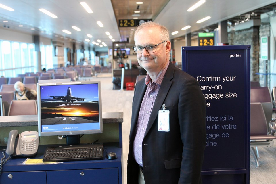 Thunder Bay International Airport president and CEO Ed Schmidtke stands in the expanded departure lounge on Wednesday, October 24, 2018. (Matt Vis, tbnewswatch.com)