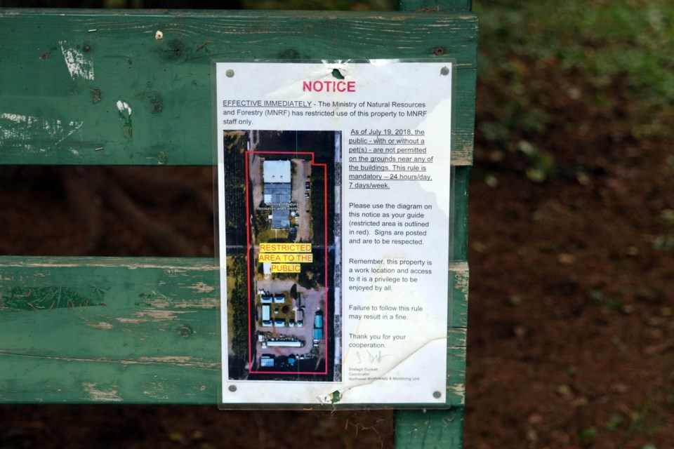 Signs were posted this summer advising the public about new restrictions at the Pennock Creek Trail after an employee was bitten by an off-leash dog. (Photos by Doug Diaczuk - Tbnewswatch.com).