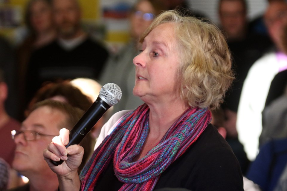 Hammarskjold High School parent Wendy Luomo gave an emotional speech on Tuesday, April 16, 2019 at a parent council meeting held at Thunder Bay's Christ Lutheran Church to discuss a slew of recent threats made against the school. (Leith Dunick, tbnewswatch.com)