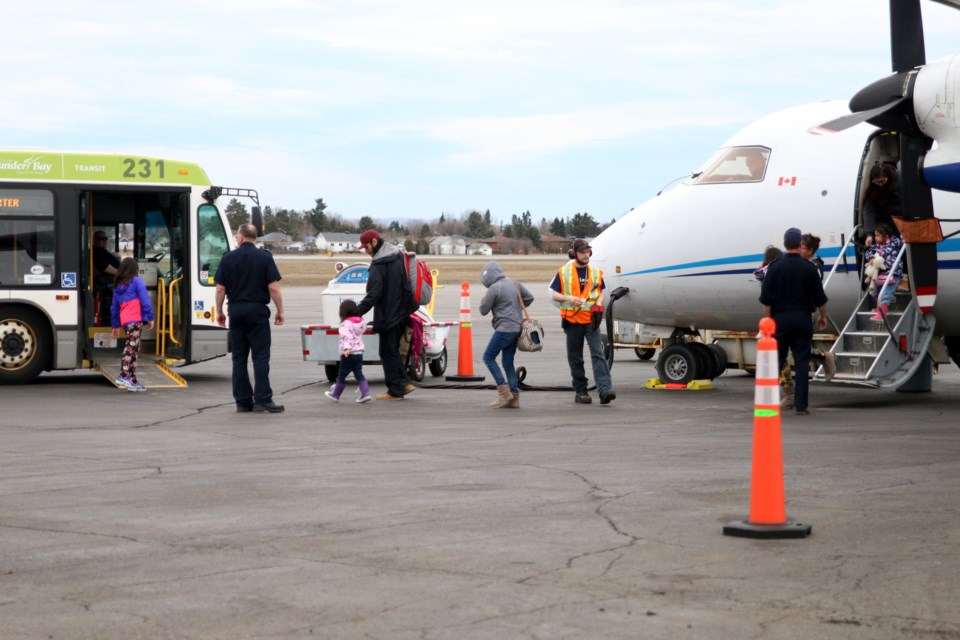 Evacuees from Kashechewan First Nation arrive in Thunder Bay in April 2019. (tbnewswatch file photograph)