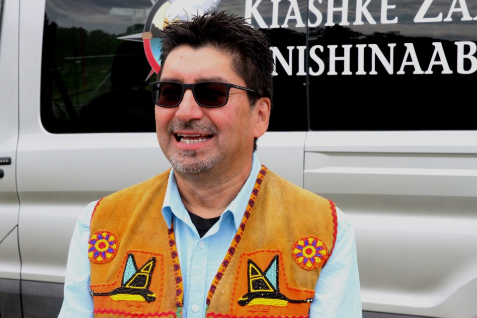 Gull Bay First Nation Grand Chief Wilfred King celebrated with members of his community on Friday. (Michael Charlebois, tbnewswatch)