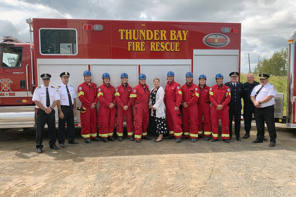 MPP Christine Hogarth (centre) joined members of Thunder Bay Fire Rescue's urban search and rescue team on Friday, Aug. 16, 2019. (Leith Dunick, tbnewswatch.com)