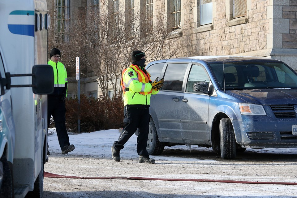 Emergency crews respond on Tuesday, Dec. 17, 2019 to a fire at the Thunder Bay District Jail. (Leith Dunick, tbnewswatch.com)