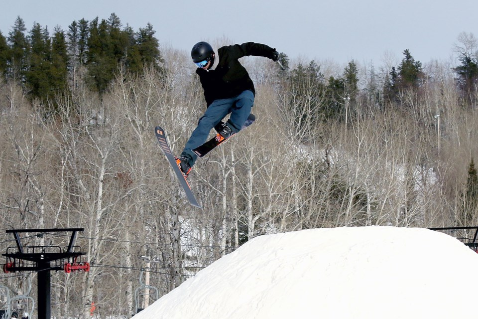 A skier catches air at Loch Lomond Ski Area on Sunday, Dec. 8, 2019. (Leith Dunick, tbnewswatch.com)