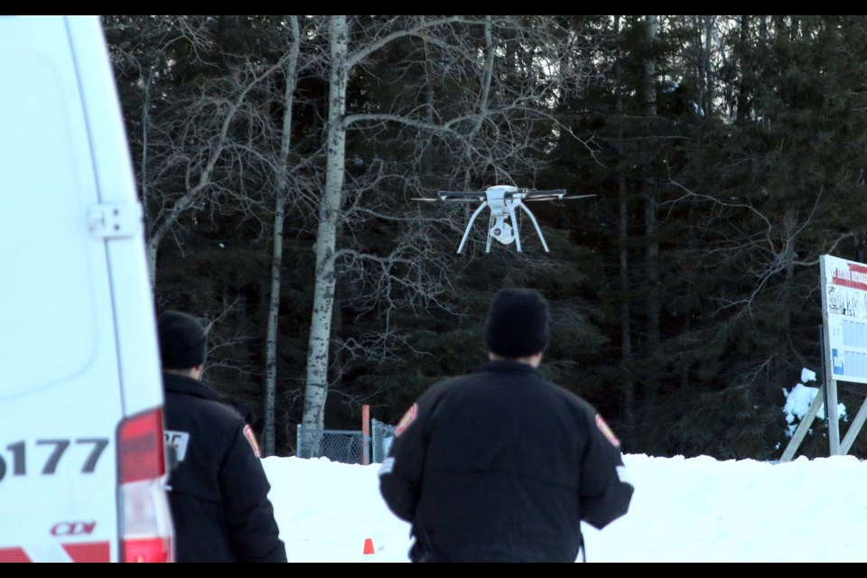 Thunder Bay Police were searching for missing 51-year-old, Brook Chaboyer, the area of George Burke Park with its aerial drone Monday afternoon. (Photos by Doug Diaczuk - Tbnewswatch.com).