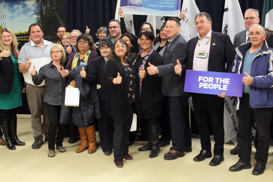 A news conference was held at Fort William First Nation on Wednesday, February 6, 2019, formally announcing NextBridge being designated to construct the East-West Tie transmission line. (Matt Vis, tbnewswatch.com)