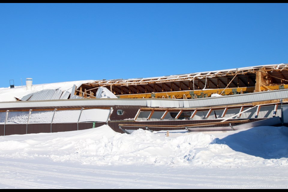 A section of barn collapsed at a farm in Slate River Valley last weekend. (Photos by Doug Diaczuk - Tbnewswatch.com).