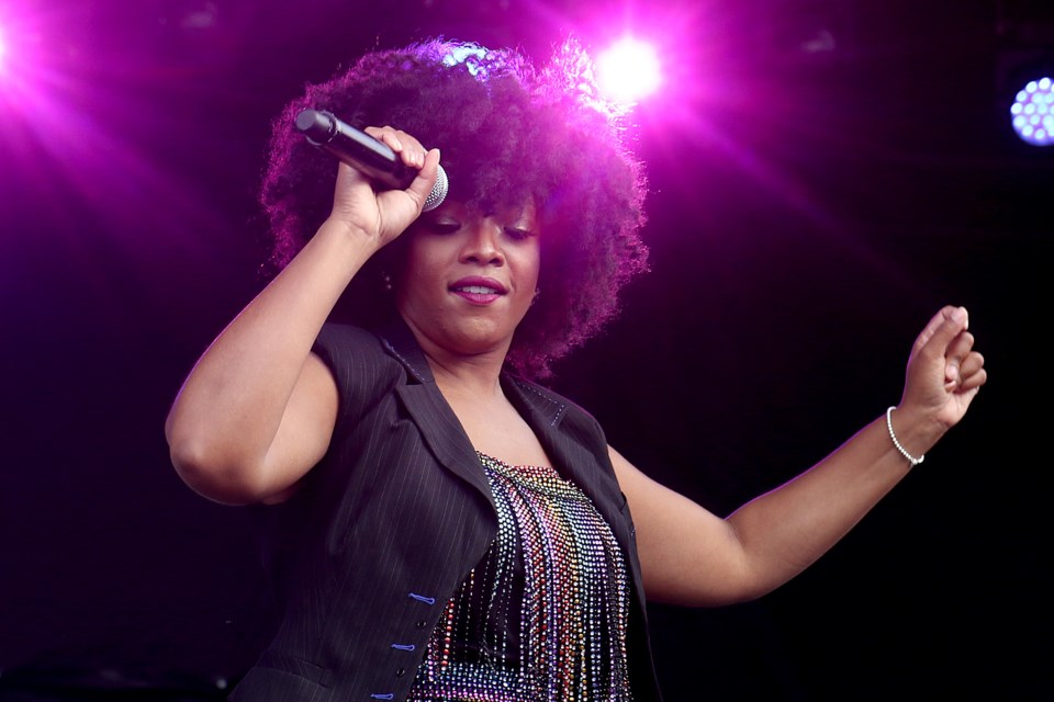 Ashley Tamar Davis performs with St. Paul and the  Minneapolis Funk All Stars at the Thunder Bay Blues Festival on Friday, July 5, 2019. (Leith Dunick, tbnewswatch.com)