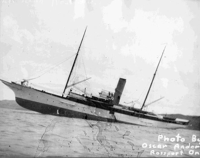 The luxury yacht Gunilda sank in 80 metres of water after she foundered on McGarvey Shoal in 1911 (Thunder Bay Museum)