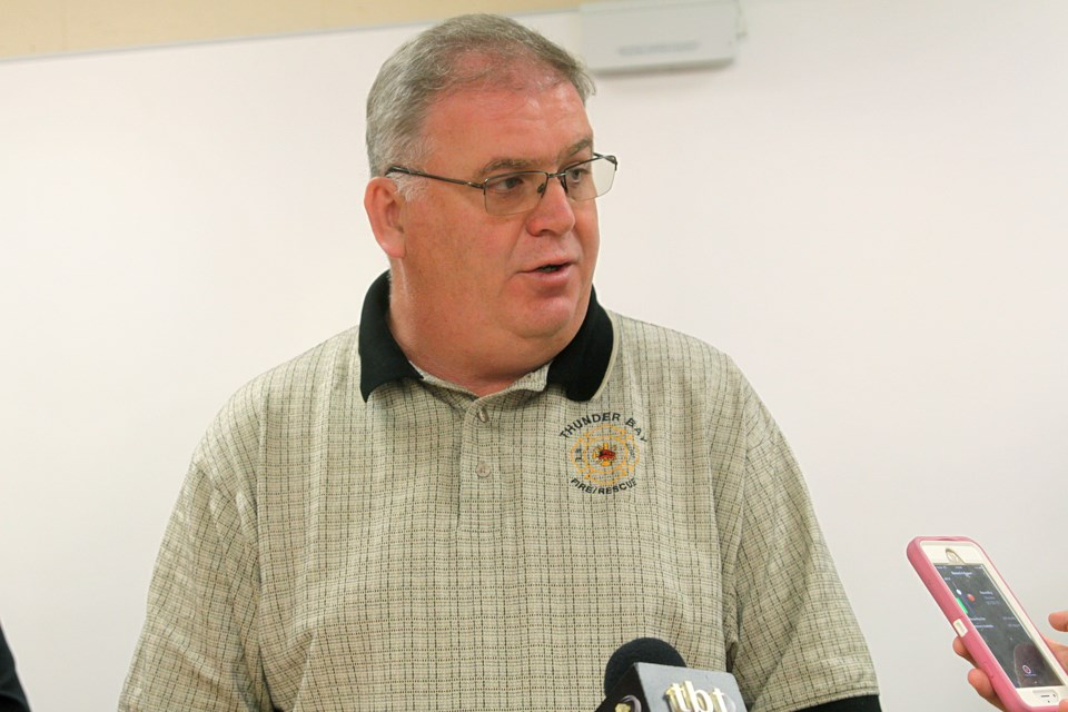 Thunder Bay city manager Norm Gale speaks at a news conference on Thursday, July 11, 2019. (Matt Vis, tbnewswatch.com)