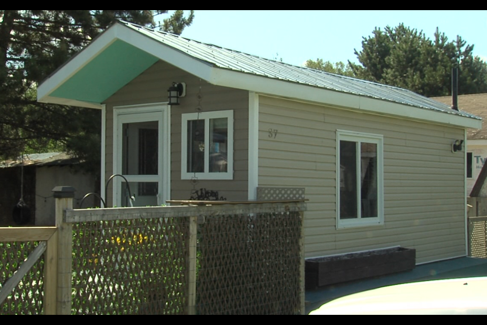Holly Kondreska and her son live in this 160-square-foot home on Thunder Bay's outskirts (Cory Nordstrom/TBTV)