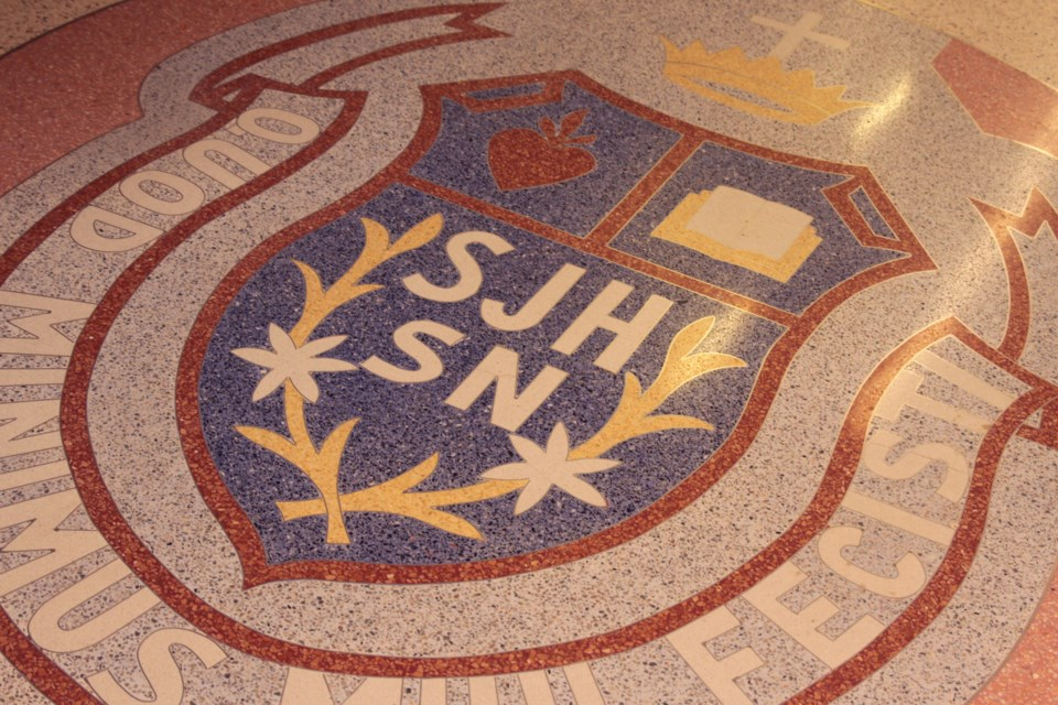 The St. Joseph's crest was developed by local tile worker  Gerry Della Mattia and preserved from the now-demolished building for over 60 years. (Michael Charlebois, tbnewswatch)
