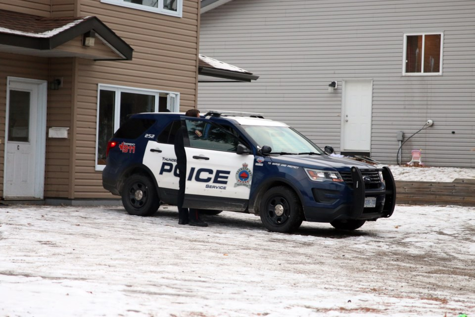 Police remain on the scene at an Arundel Street residence following a report of a death that is now being treated as a homicide. (Photos by Doug Diaczuk - Tbnewswatch.com).