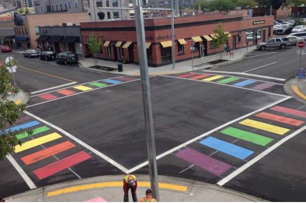 Rainbow cross walk