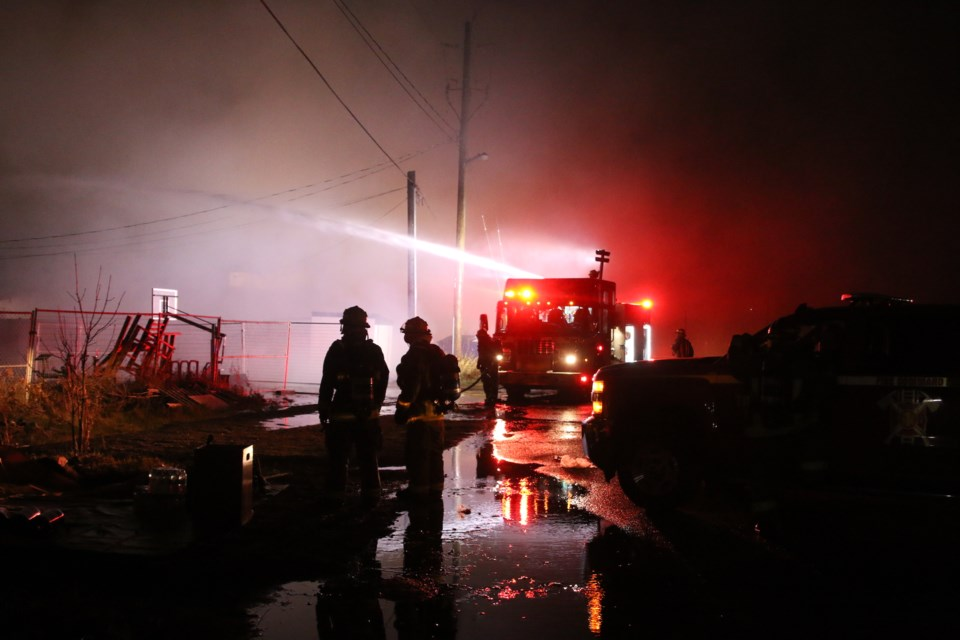 Crews with Thunder Bay Fire rescue responded to a structural fire on Simpson Street late Tuesday night. (Photos by Doug Diaczuk - Tbnewswatch.com).