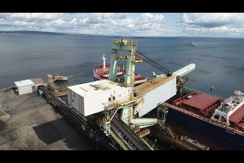 A conveyor system is used to fill a coal-carrying vessel at Thunder Bay Terminals in October 2019 (Port of Thunder Bay)