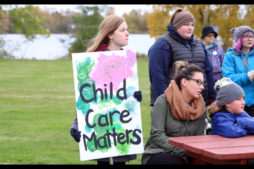 Registered early childhood educator, Bailey Vanderwees, was among a group of people taking part in a childcare walk to raise awareness about the challenges facing families and workers. (Photos by Doug Diaczuk - Tbnewswatch.com).